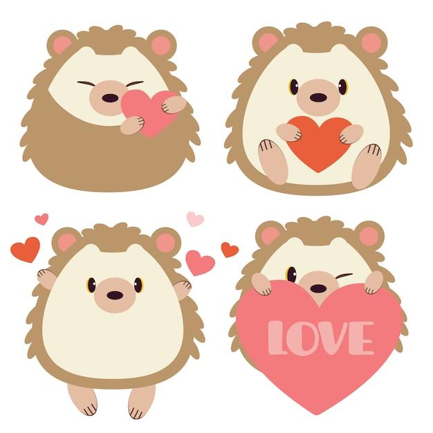 Kolekcja Cute Jeż Z Sercem Na Białym Tle Premium Wektorów