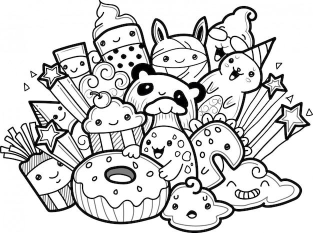 Kolekcja cute potwory w stylu bazgroły Premium Wektorów