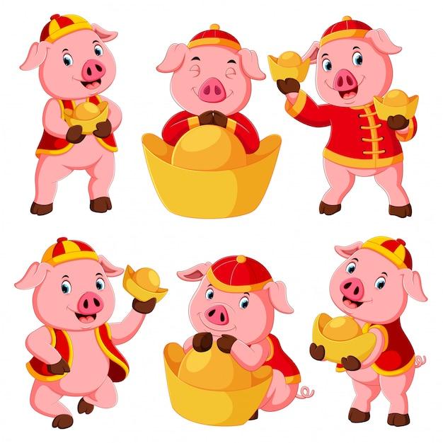 Kolekcja cute różowa świnia używa czerwonego stroju na chiński nowy rok Premium Wektorów