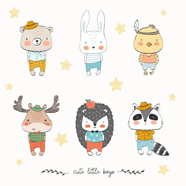 Kolekcja cute zwierząt dla dzieci Premium Wektorów