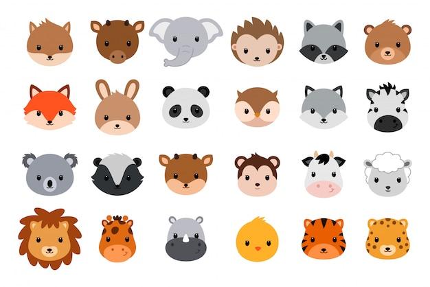 Kolekcja Cute Zwierząt Głowy. Płaski Styl. Premium Wektorów