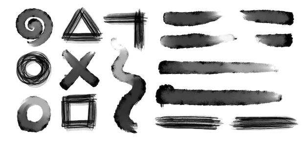 Kolekcja Czarny Pociągnięcia Pędzlem Grunge Darmowych Wektorów