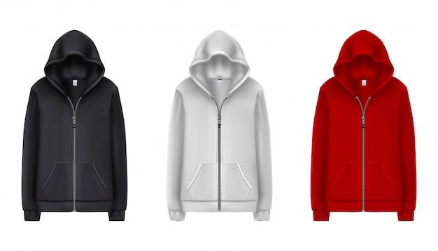 Kolekcja Czarnych, Białych I Czerwonych Sportowych Bluz. Ilustracja Na Białym Tle. Premium Wektorów