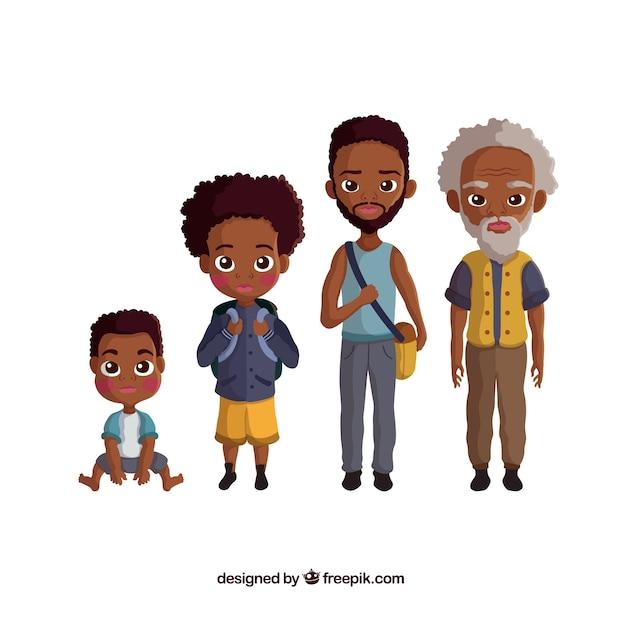 Kolekcja czarnych mężczyzn w różnym wieku Darmowych Wektorów