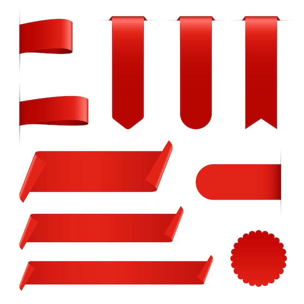 Kolekcja Czerwoną Wstążką Na Białym Tle Premium Wektorów