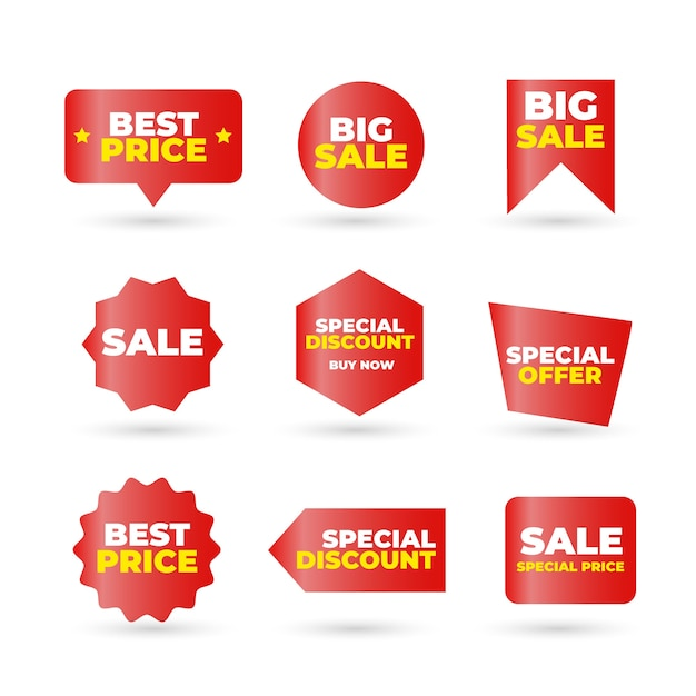 Kolekcja czerwonej etykiety sprzedaży Darmowych Wektorów