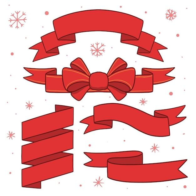 Kolekcja Czerwonych Wstążek Boże Narodzenie Darmowych Wektorów