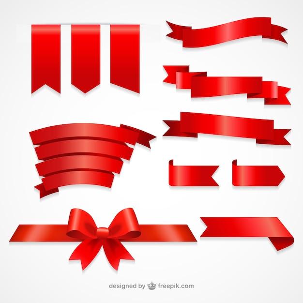Kolekcja Czerwonymi Wstążkami Premium Wektorów
