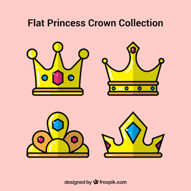 Kolekcja Czterech Koronek Księżniczki W Płaskim Stylu Darmowych Wektorów