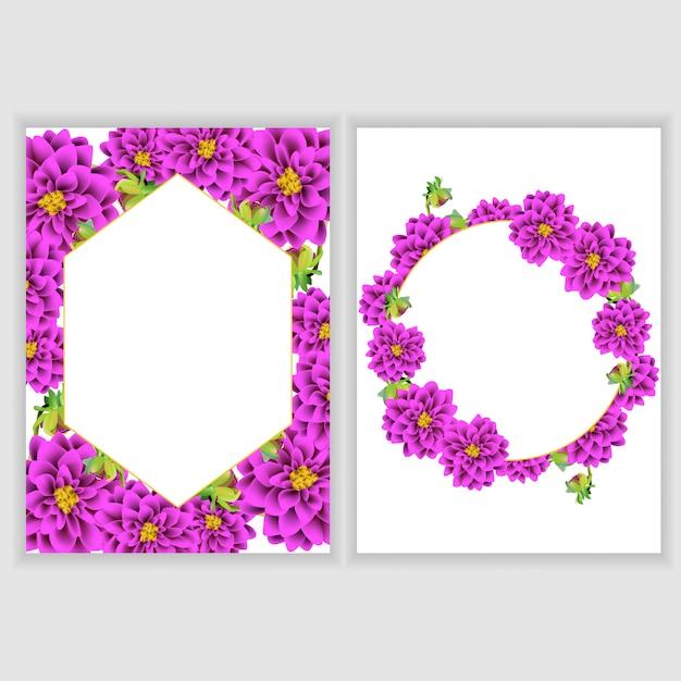 Kolekcja dekoracji kwiatowy kartkę z życzeniami Premium Wektorów