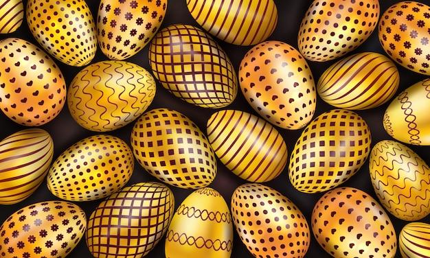 Kolekcja dekorujących złotych wielkanocnych jajek na czarnym tle Premium Wektorów