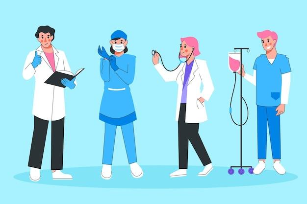 Kolekcja Dla Pracowników Służby Zdrowia Darmowych Wektorów