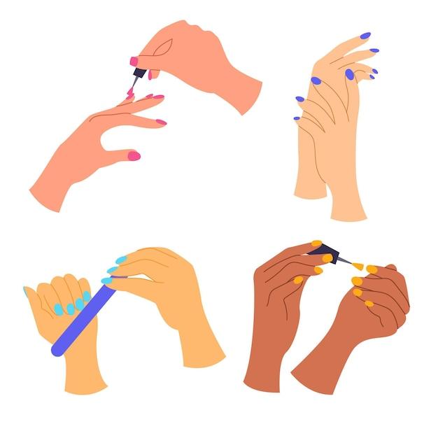 Kolekcja Dłoni Do Manicure Darmowych Wektorów