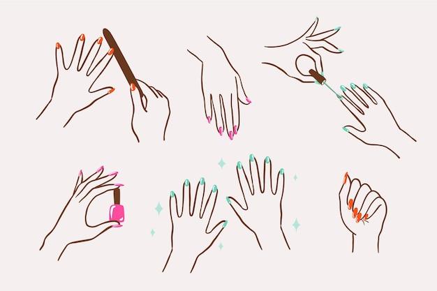 Kolekcja Dłoni Do Manicure Premium Wektorów