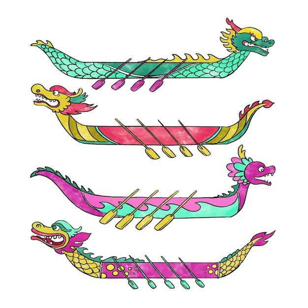 Kolekcja Dragon Boat Darmowych Wektorów