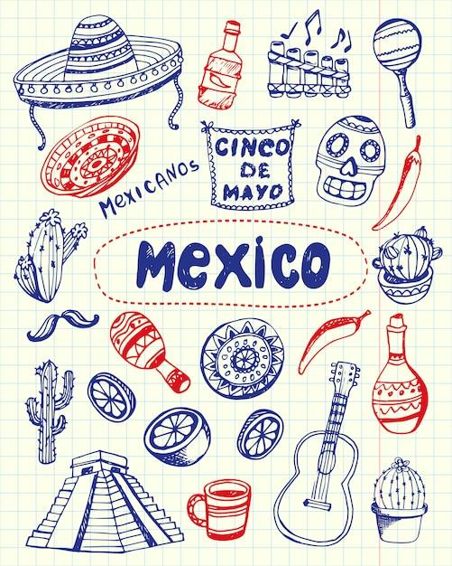 Kolekcja drawn doodles w meksyku Premium Wektorów
