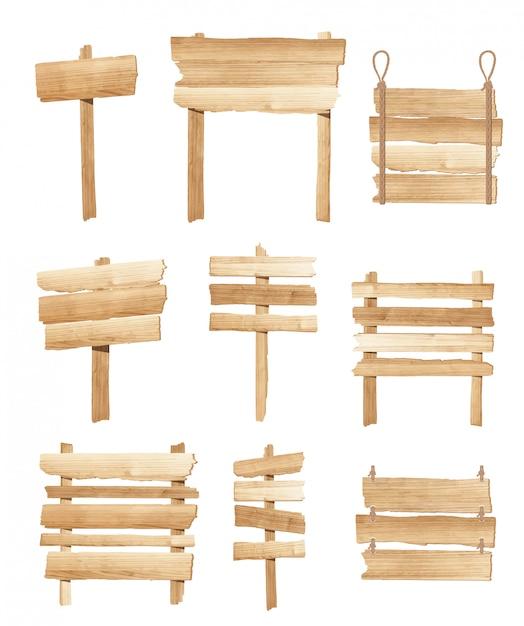 Kolekcja Drewniane Znaki Pokładzie Lub Drogowskaz Wektor Premium Wektorów