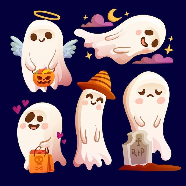 Kolekcja Duchów Halloween Darmowych Wektorów