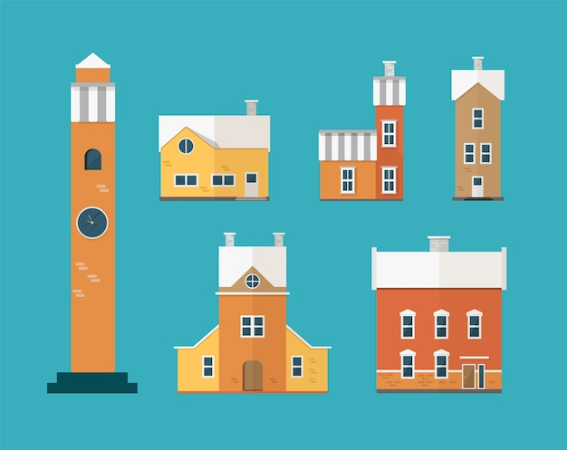 Kolekcja Dwukondygnacyjnych Budynków Mieszkalnych I Wieża Zegarowa Na Białym Tle Na Zielono Premium Wektorów