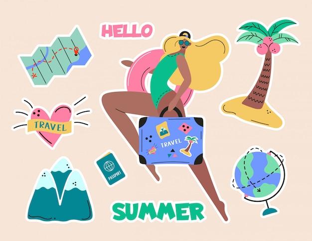 Kolekcja Dziewczyny, Turystyka Przygodowa, Podróże Za Granicę, Wycieczka Wakacyjna, Turystyka I Plecaki Dekoracyjne Elementy Dekoracyjne Na Białym Tle. Ilustracja Kolorowy Kreskówka Płaski Premium Wektorów