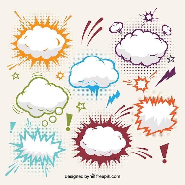 Kolekcja Efekty Komiczne Chmury Darmowych Wektorów