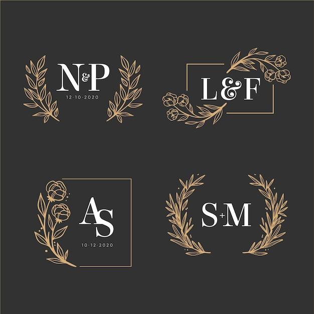Kolekcja Eleganckich Monogramów ślubnych Darmowych Wektorów