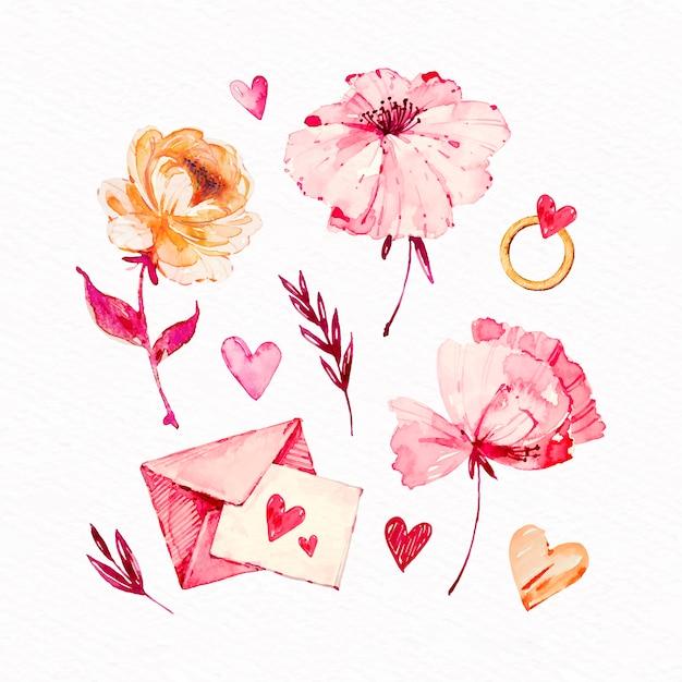 Kolekcja Elementów Akwarela Walentynki Darmowych Wektorów