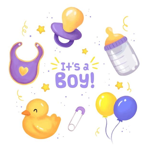Kolekcja Elementów Baby Shower Dla Chłopca Premium Wektorów