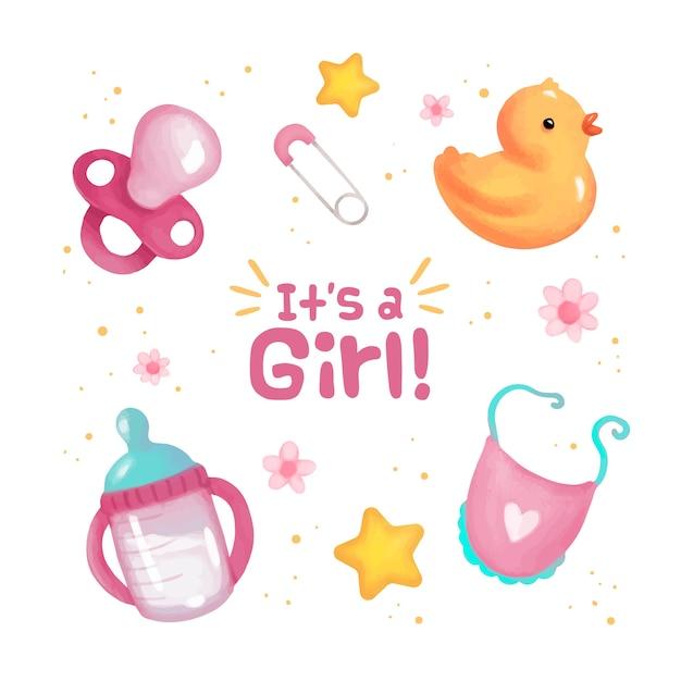 Kolekcja Elementów Baby Shower Dla Dziewczynki Premium Wektorów