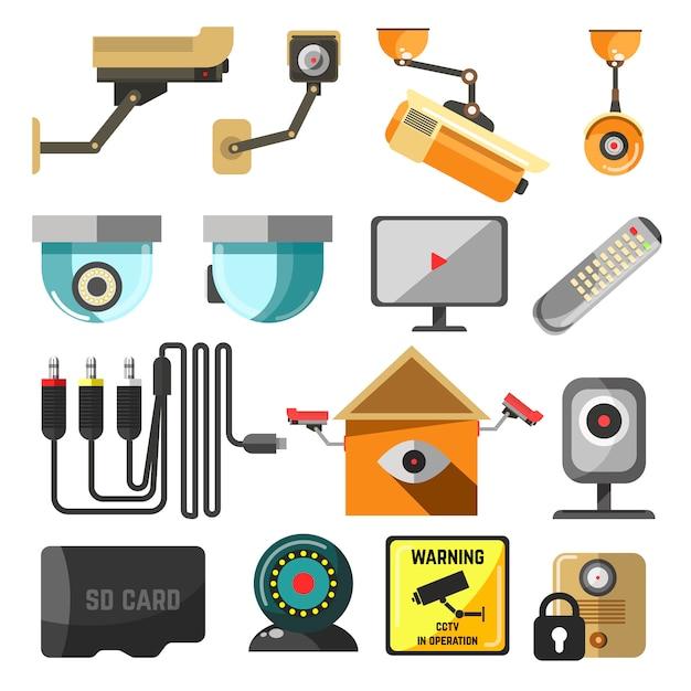 Kolekcja Elementów Bezpieczeństwa I Nadzoru. Premium Wektorów