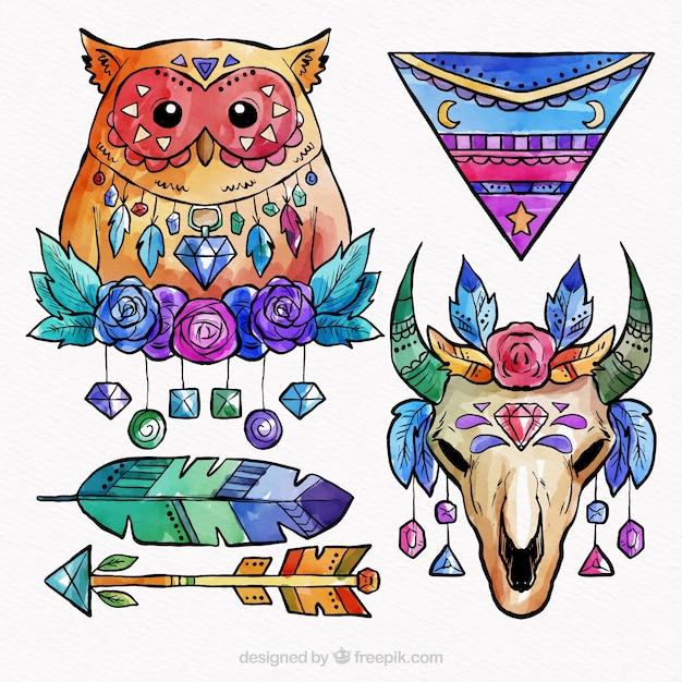 Kolekcja Elementów Boho W Stylu Akwareli Darmowych Wektorów