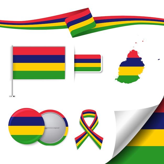 Kolekcja Elementów Dla Materiałów Piśmiennych Z Flagą Projektu Mauritius Darmowych Wektorów