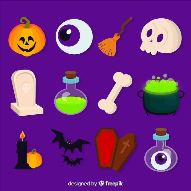 Kolekcja Elementów Do Płaskich Dekorów Halloween Darmowych Wektorów