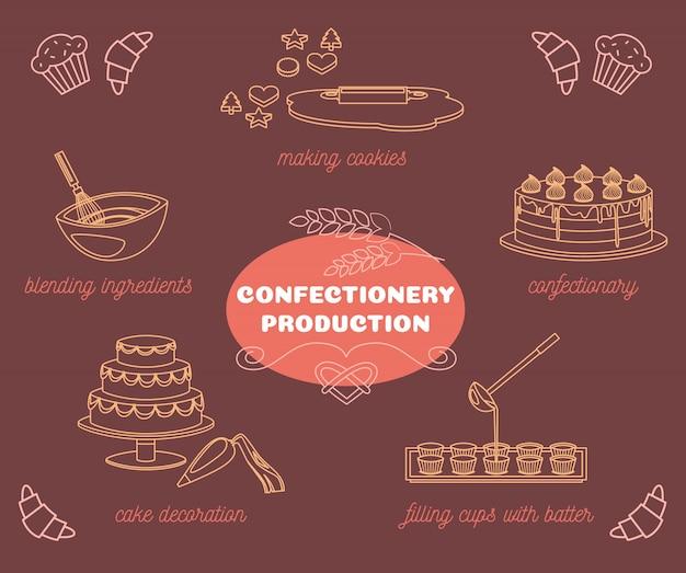 Kolekcja Elementów Do Produkcji Słodyczy Darmowych Wektorów