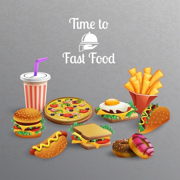 Kolekcja Elementów Fast Food Darmowych Wektorów
