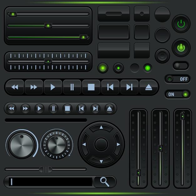 Kolekcja elementów graficznego interfejsu użytkownika odtwarzacza multimedialnego Premium Wektorów