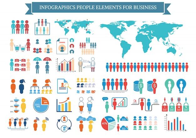 Kolekcja elementów infographic ludzi dla biznesu Premium Wektorów