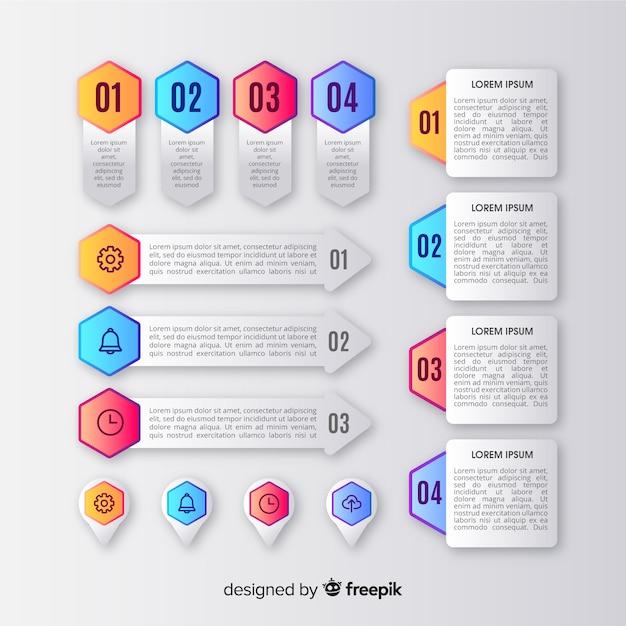 Kolekcja elementów infographic w stylu gradientu Darmowych Wektorów