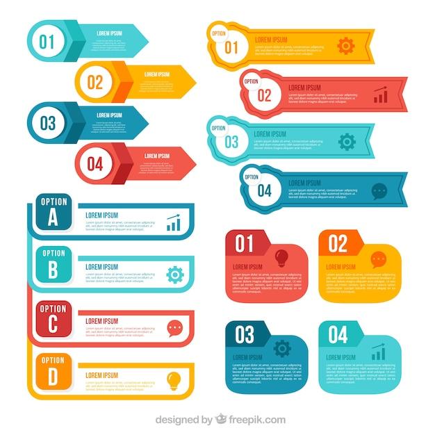 Kolekcja elementów kolorowych infographic Darmowych Wektorów