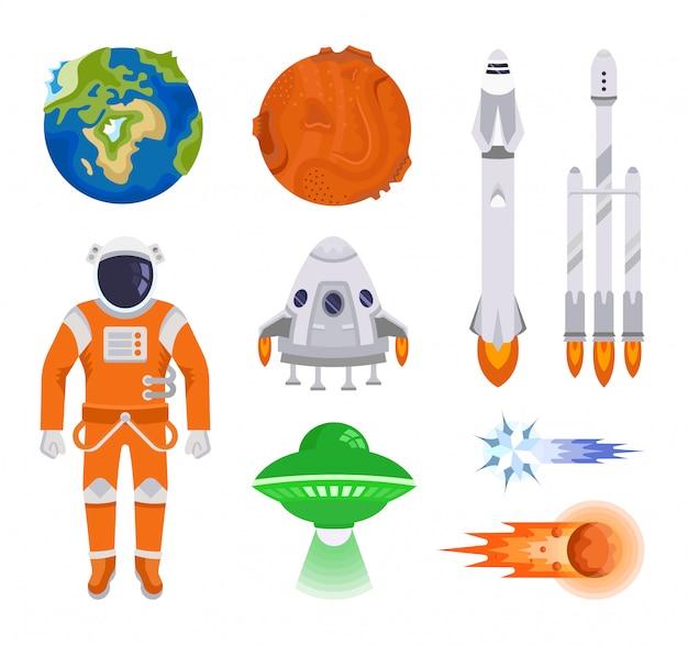 Kolekcja elementów kosmicznych Premium Wektorów