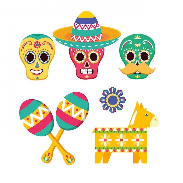 Kolekcja Elementów Meksykańskich Darmowych Wektorów