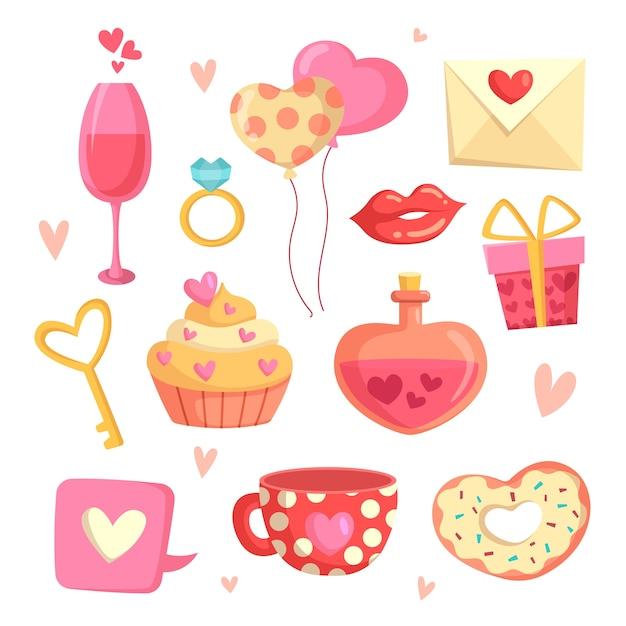 Kolekcja Elementów Na Walentynki Darmowych Wektorów