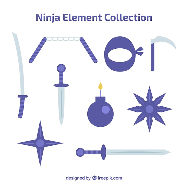 Kolekcja elementów ninja o płaskiej konstrukcji Darmowych Wektorów