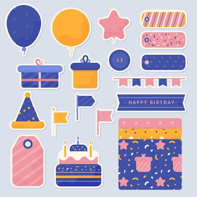 Kolekcja Elementów Notatnik Urodziny Darmowych Wektorów