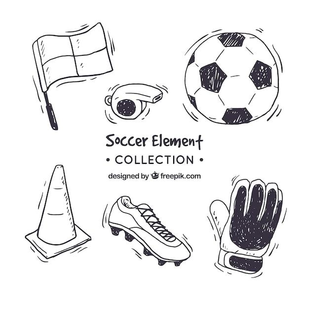 Kolekcja Elementów Piłkarskich W Stylu Wyciągnąć Rękę Darmowych Wektorów