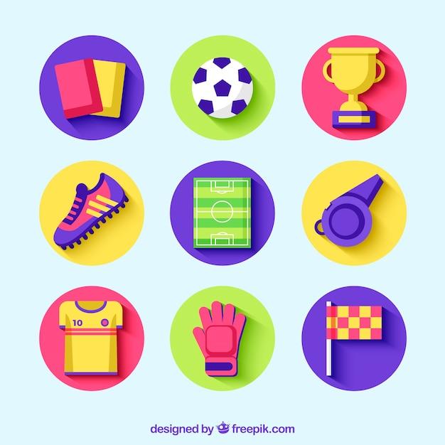 Kolekcja Elementów Piłkarskich Z Wyposażeniem W Stylu Płaski Darmowych Wektorów