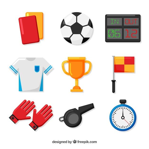 Kolekcja Elementów Piłkarskich Z Wyposażeniem Darmowych Wektorów