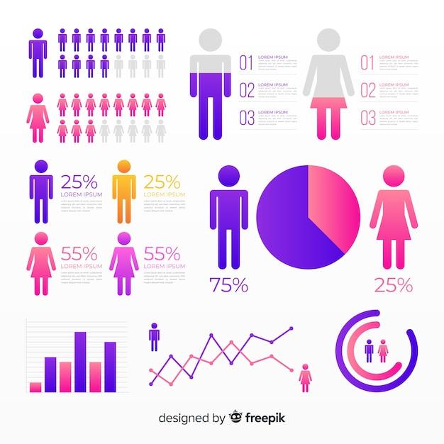 Kolekcja elementów płaskich infographic gradientu Darmowych Wektorów