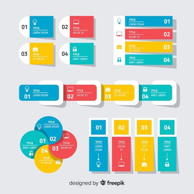 Kolekcja elementów płaskich infographic Darmowych Wektorów
