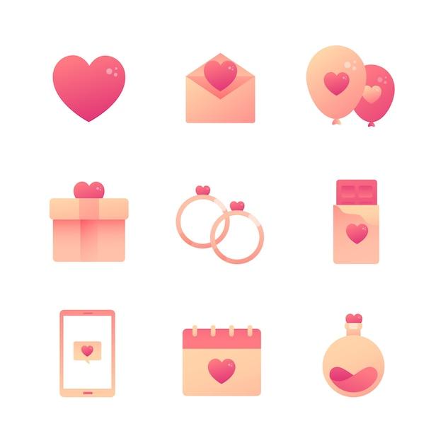Kolekcja Elementów Płaskich Walentynek Darmowych Wektorów